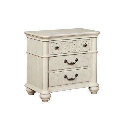Elliot 3-Drawer White Nightstand