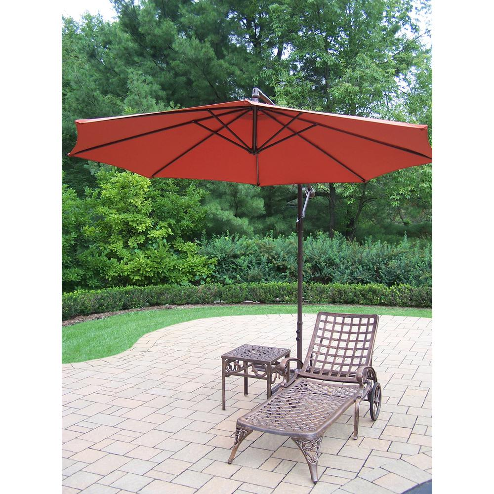 3-Piece Aluminum Outdoor Chaise Lounge Set with Burnt Orange Umbrella