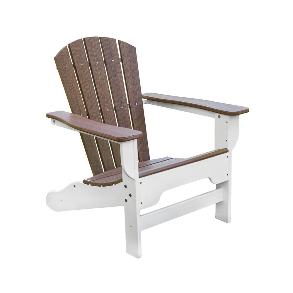 Boca Raton White and Antique Mahogany Plastic Adirondack Chair