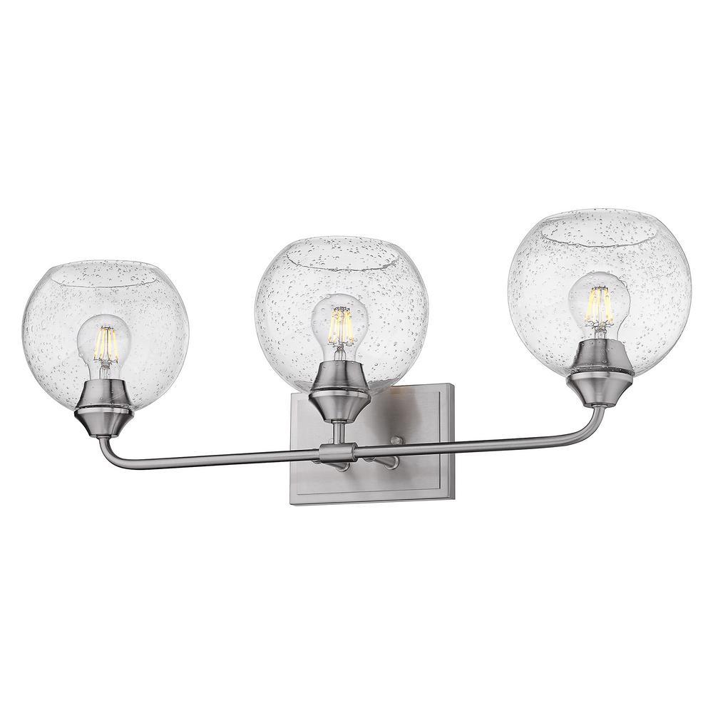 2120-BA2PW-GLOBE-SD Pewter//Seeded Golden Lighting Ormond 2 Light Bath
