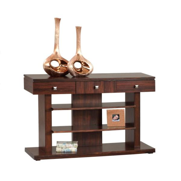 Le Mans 48 in. Mozambique Standard Rectangle Wood Console Table with Drawers