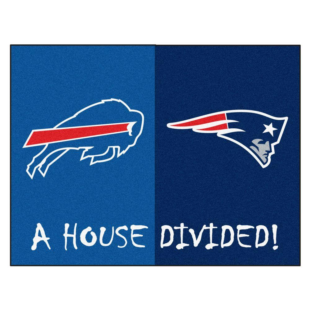 Fanmats Nfl Patriots Bills Blue House Divided 2 Ft 10 In