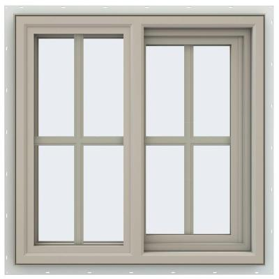 23.5 in. x 23.5 in. V-4500 Series Desert Sand Vinyl Right-Handed Sliding Window with Colonial Grids/Grilles