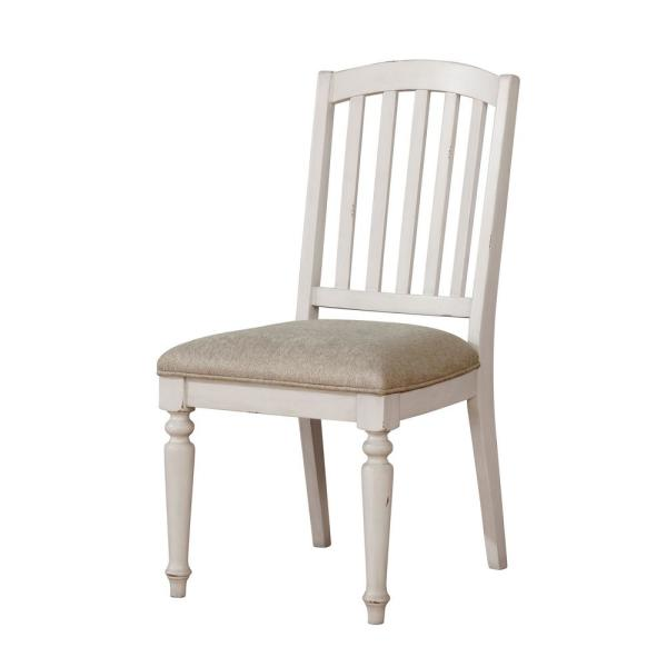 Furniture of America Chandler Antique White Fabric Slat Side Chair (Set