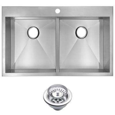 Drop-In Zero Radius Stainless Steel 33 in. 1-Hole Double Bowl Kitchen Sink with Strainer in Satin