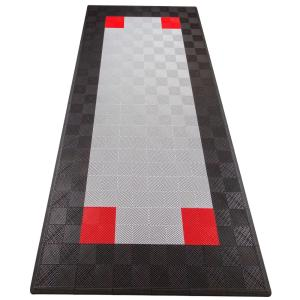 Black and Silver Single Car Pad Ribtrax Modular Tile Flooring (134 sq. ft./case)