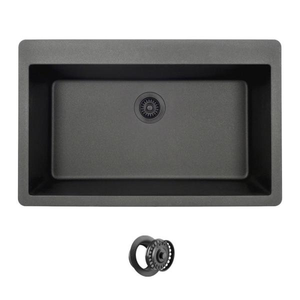 Black Quartz Granite 33 in. Single Bowl Drop-In Kitchen Sink with Matching Flange