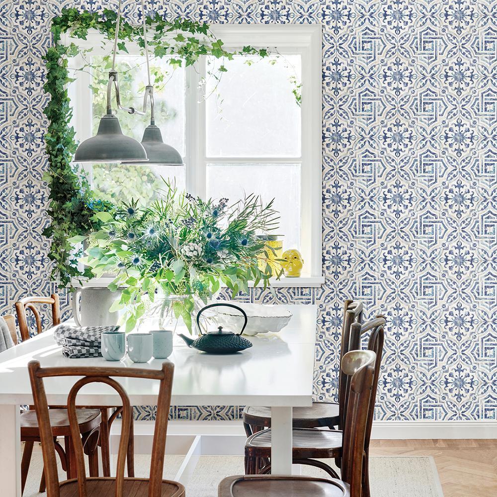 Sonoma Blue Spanish Tile Blue Wallpaper Sample