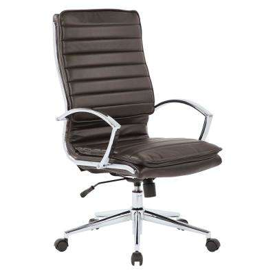 High Back Manager's Faux Leather Chair in Espresso with Chrome Base