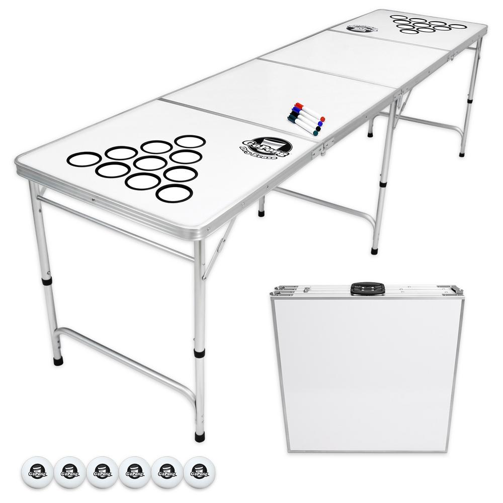 8 ft. Dry Erase Foldable Beer Pong Party Game Table Lightweight