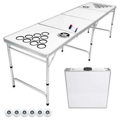 8 ft. Dry Erase Foldable Beer Pong Party Game Table Lightweight Aluminum Design Indoor Outdoor Portable Drinking
