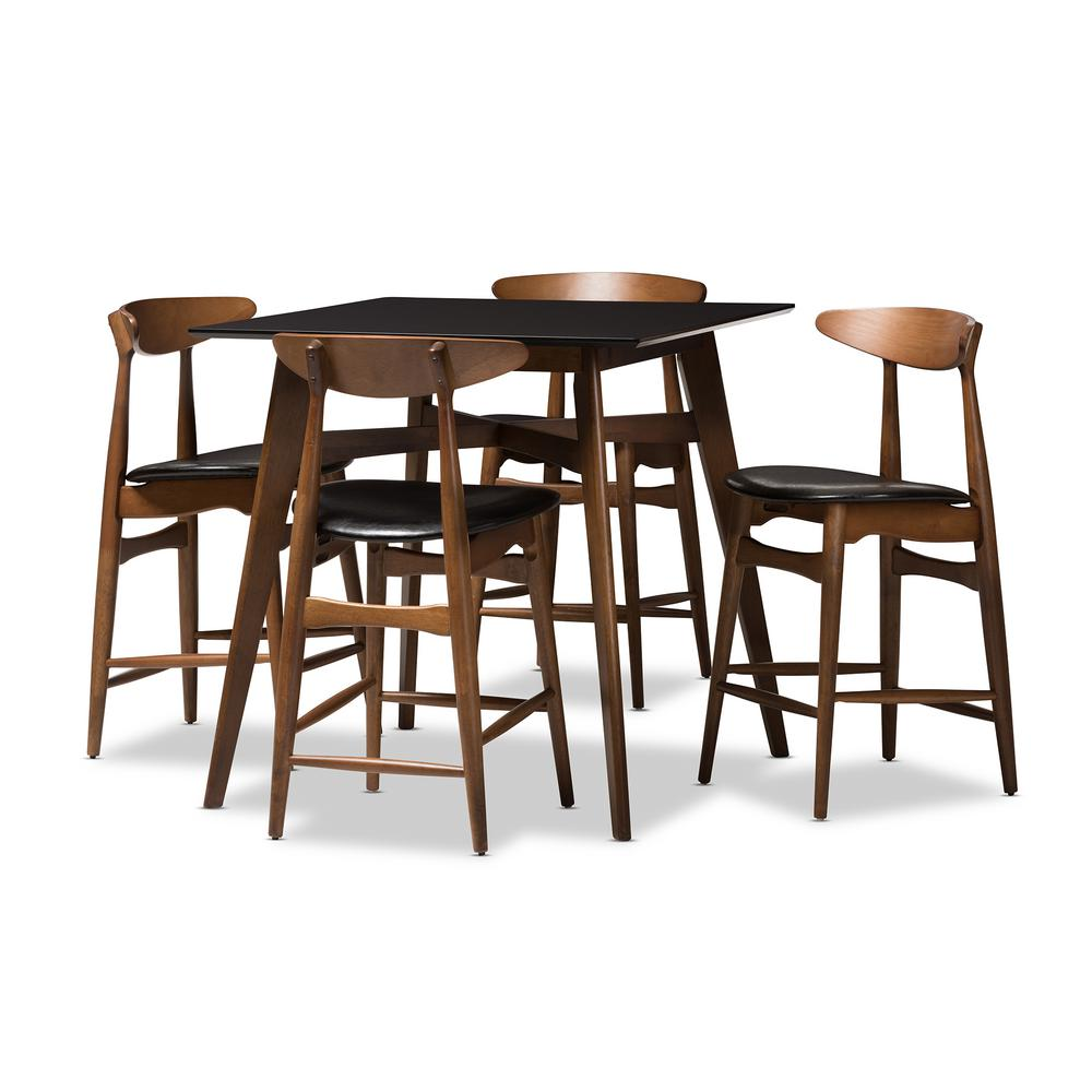 Flora 5-Piece Black and Walnut Brown Pub Set