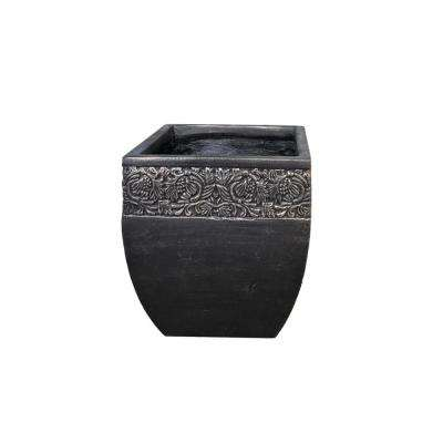 Small 11.02 in. x 11.02 in. x 12.2 in. Bronzewash Color Lightweight Concrete Floral Scroll Foliage Flared Square Planter
