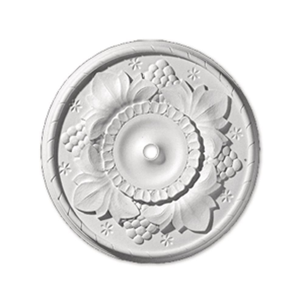 Fypon 24 in. x 24 in. x 2-9/32 in. Polyurethane Grapeleaf Ceiling Medallion