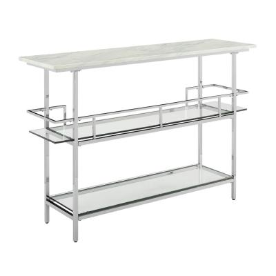 Aimee Chrome Bar with Paper Marble Top