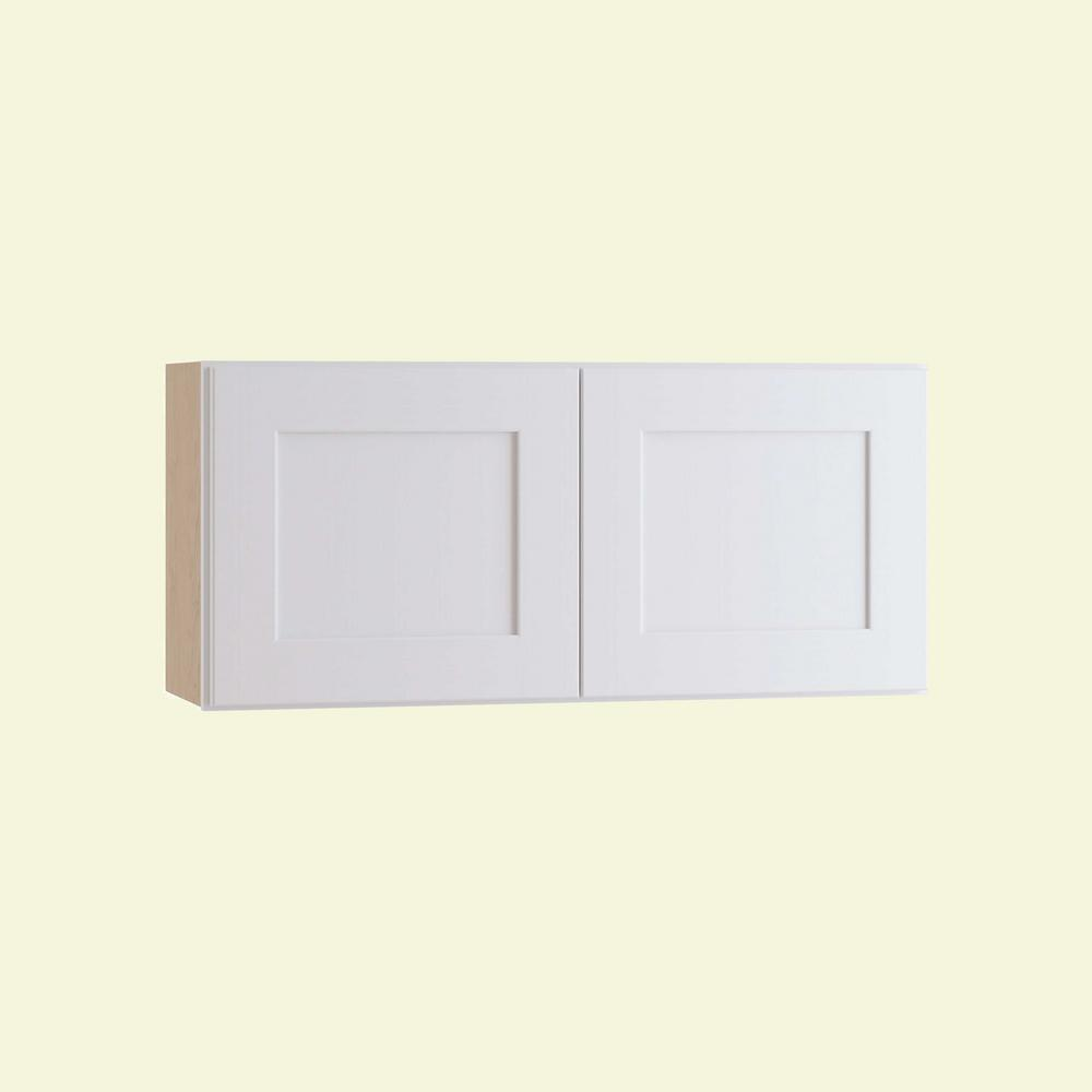 Home Decorators Collection Newport Assembled 30 in. x 15 in. x 12 in. Wall Kitchen Cabinet with Double Doors in Pacific White