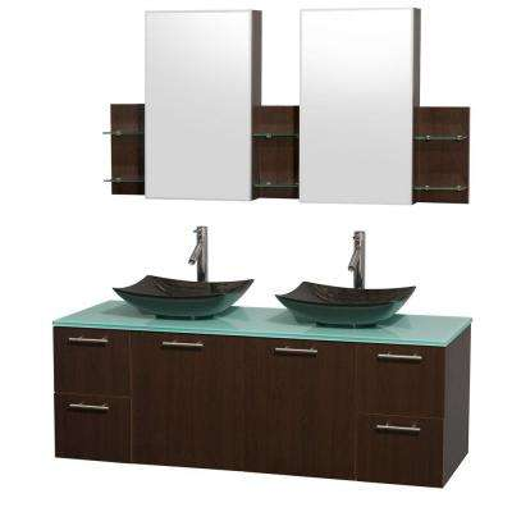 Amare 60 in. Double Vanity in Espresso with Glass Vanity Top in Green, Granite Sinks and Medicine Cabinet