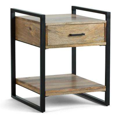 Cayley Solid Mango Wood and Metal 20 inch Wide Rectangle Modern Industrial End Side Table in Natural
