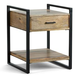 Riverside Solid Mango Wood and Metal 20 in. Wide Modern Industrial End Side Table in Natural