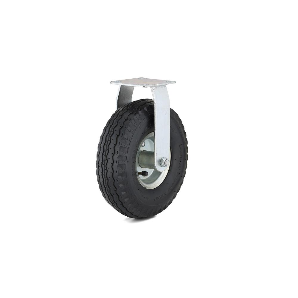 10 in. black Fixed plate Caster, 264.6 lb. Load Rating