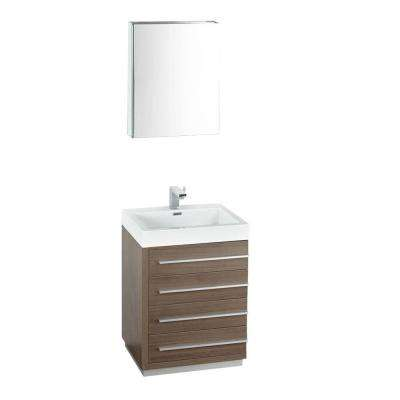 Livello 24 in. Vanity in Gray Oak with Acrylic Vanity Top in White with White Basin and Mirrored Medicine Cabinet