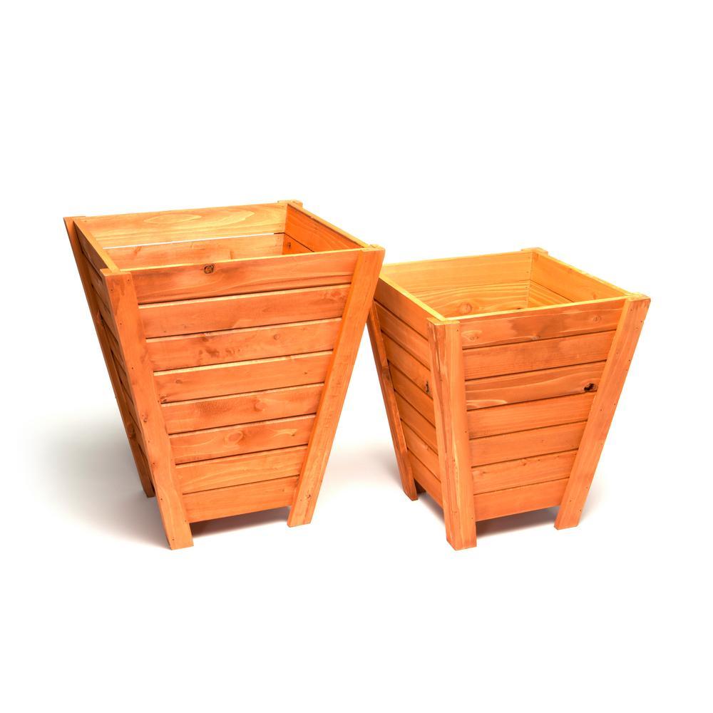 DeVault Tall Wooden Planter (Set of 2)