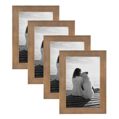 Gallery 4 in. x 6 in. Rustic Brown Wood Picture Frame (Set of 4)