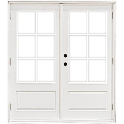 60 in. x 80 in. Fiberglass Smooth White Right-Hand Outswing Hinged 3/4-Lite Patio Door with 6-Lite GBG