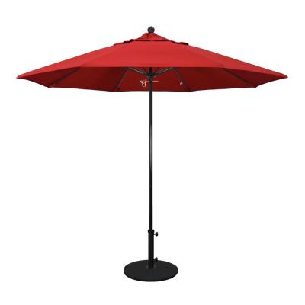 9 ft. Fiberglass Pole Market Fiberglass Ribs Push Lift Patio Umbrella in Jockey Red Sunbrella
