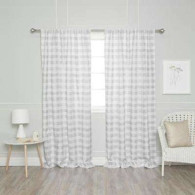 Grey 96 in. L Nordic Watercolor Check Curtain (2-Pack)