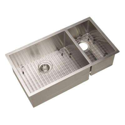 Contempo Series Undermount 33 in. 0-Hole Double Bowl Kitchen Sink in Stainless Steel