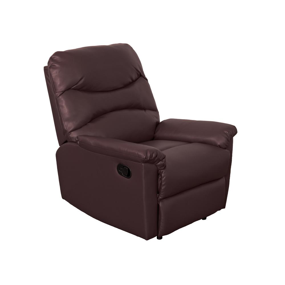 Luke Chocolate Brown Bonded Leather Recliner