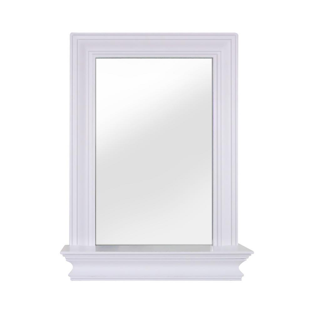 Stratford 18 in. W x 24 in. H Framed Rectangular Beveled Edge Bathroom Vanity Mirror in White