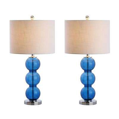 Bella 27 in. Cobalt Blue/Chrome Glass Triple-Sphere Table Lamp (Set of 2)