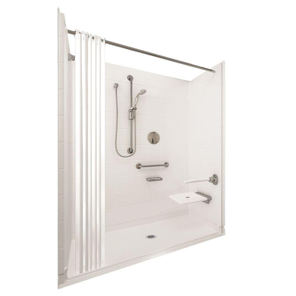 Ella Elite Brilliant 31 in. x 60 in. x 77-1/2 in. 5-piece Barrier Free Roll In Shower System in White with Center Drain