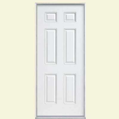 36 in. x 80 in. 6-Panel Left Hand Inswing Primed White Steel Prehung Front Door with Vinyl Frame