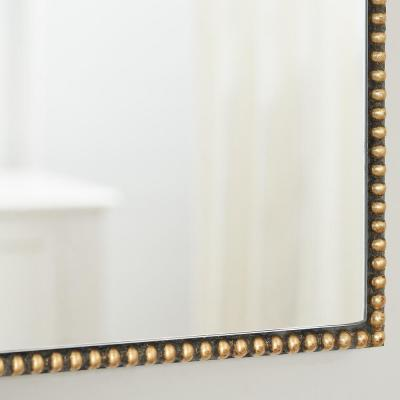 Medium Ornate Arched Gold Antiqued Classic Accent Mirror (35 in. H x 24 in. W)