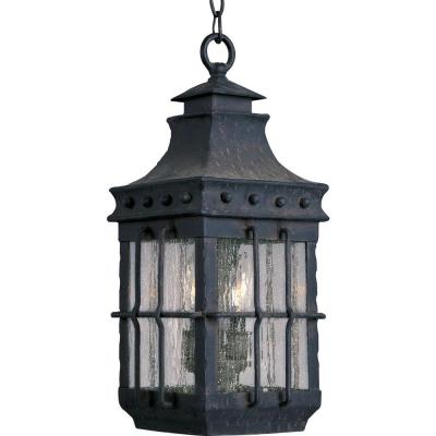 Nantucket 3-Light Country Forge Outdoor Hanging Lantern