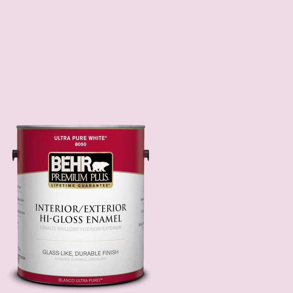 BEHR Premium Plus 1-gal. #M130-1 Pink Posies Hi-Gloss Enamel Interior/Exterior Paint