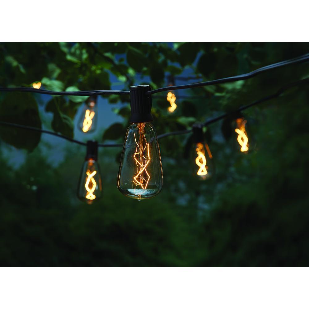 Outdoor/Indoor 10 ft. Light Line Voltage ST40 Vintage Bulb Incandescent String Light (10-Heads)