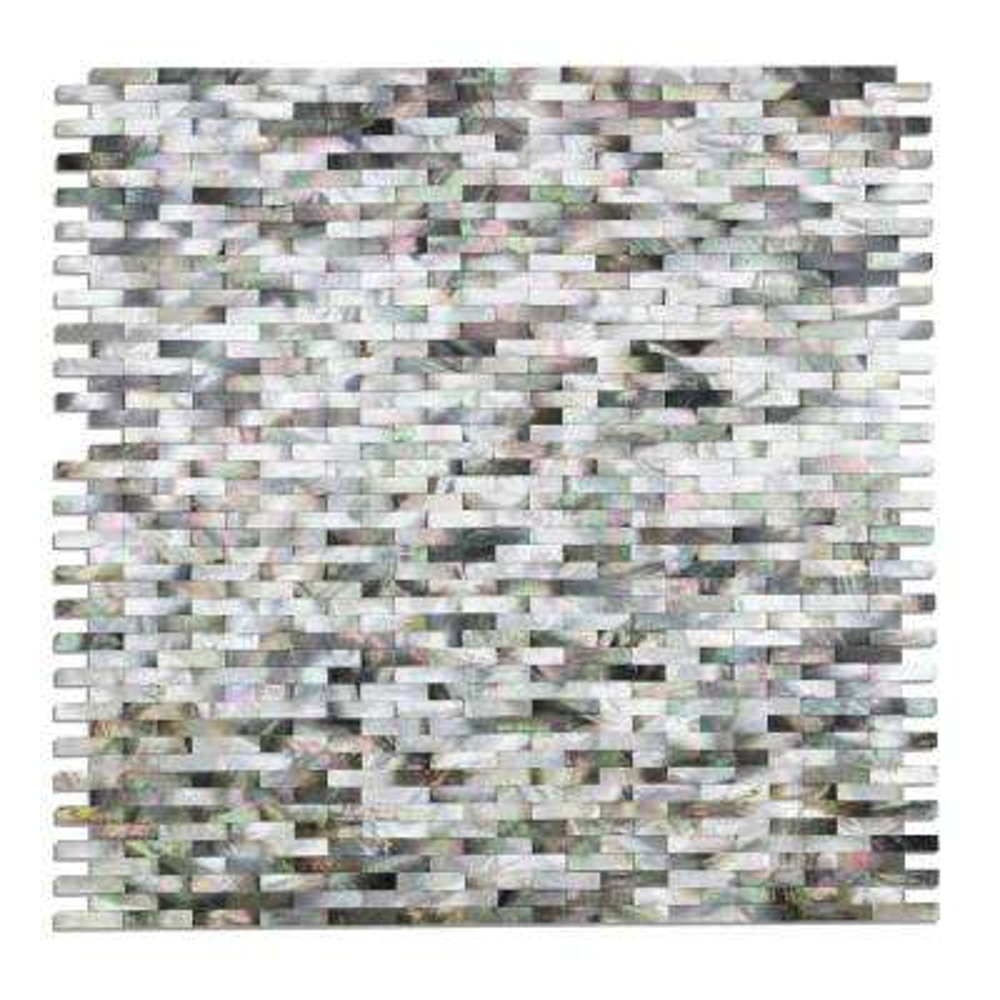 Lokahi Coule Black Mini Brick 11-5/8 in. x 12 in. x 2 mm Pearl Shell Mosaic Tile