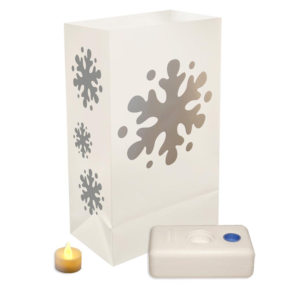 Lumabase 11 in. Battery Operated Snowflake Luminaria Kit (Set of 12)