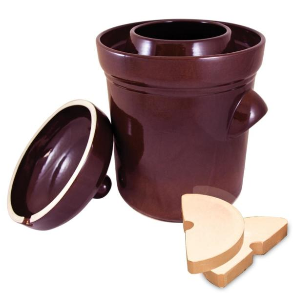 The Sausage Maker Polish Style 4-Piece 2.6 Gal. Ceramic Burnt Sienna Fermentation Crock with Weights