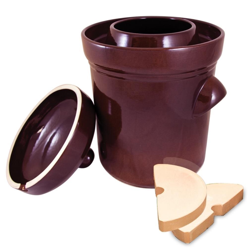Polish Style 4-Piece 2.6 Gal. Ceramic Burnt Sienna Fermentation Crock with Weights