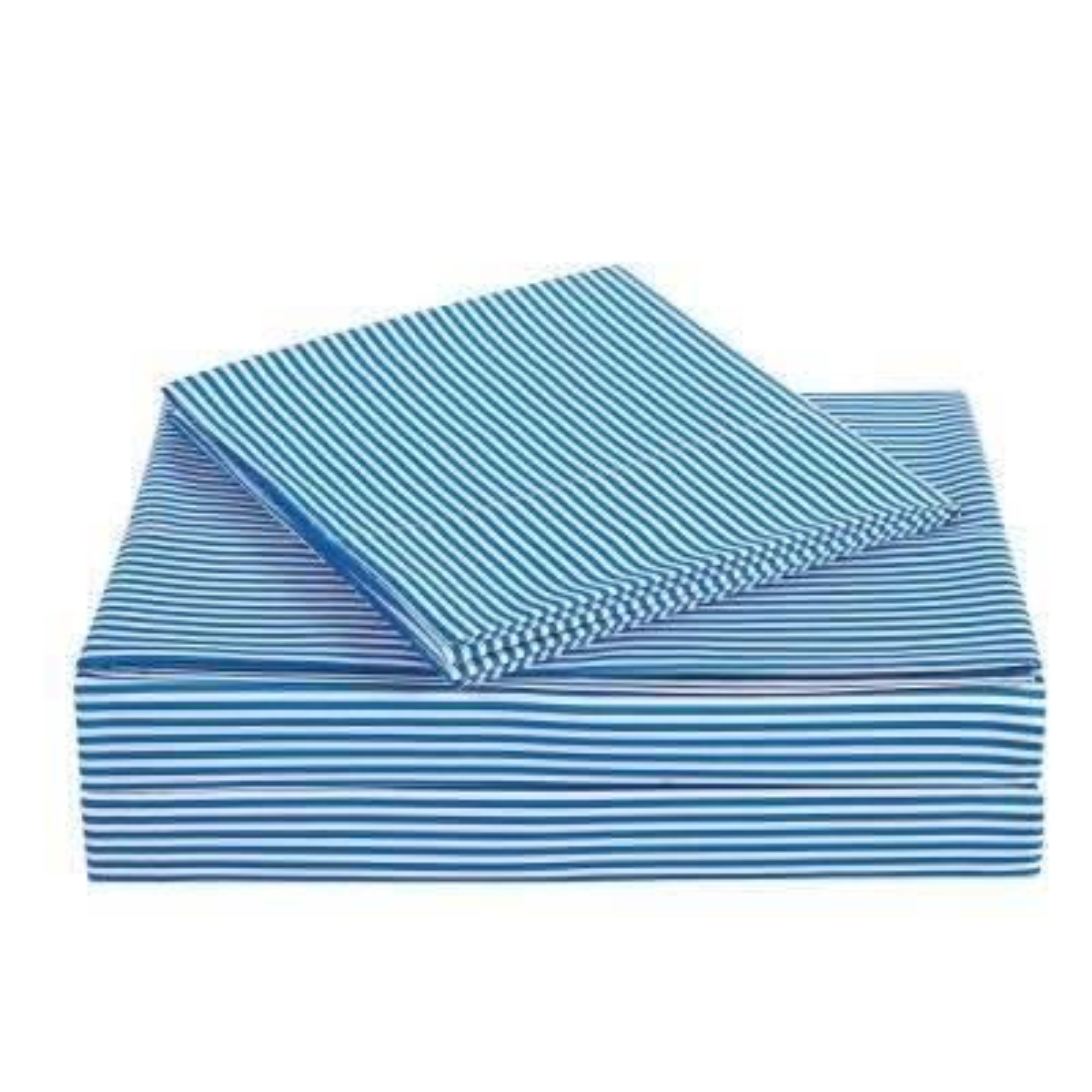 Everyday Stripe Blue Twin Sheet Set