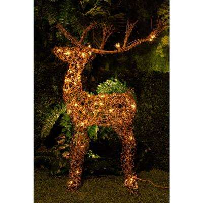 34 in. Rattan Reindeer with 50-Halogen Lights (Plug-In)