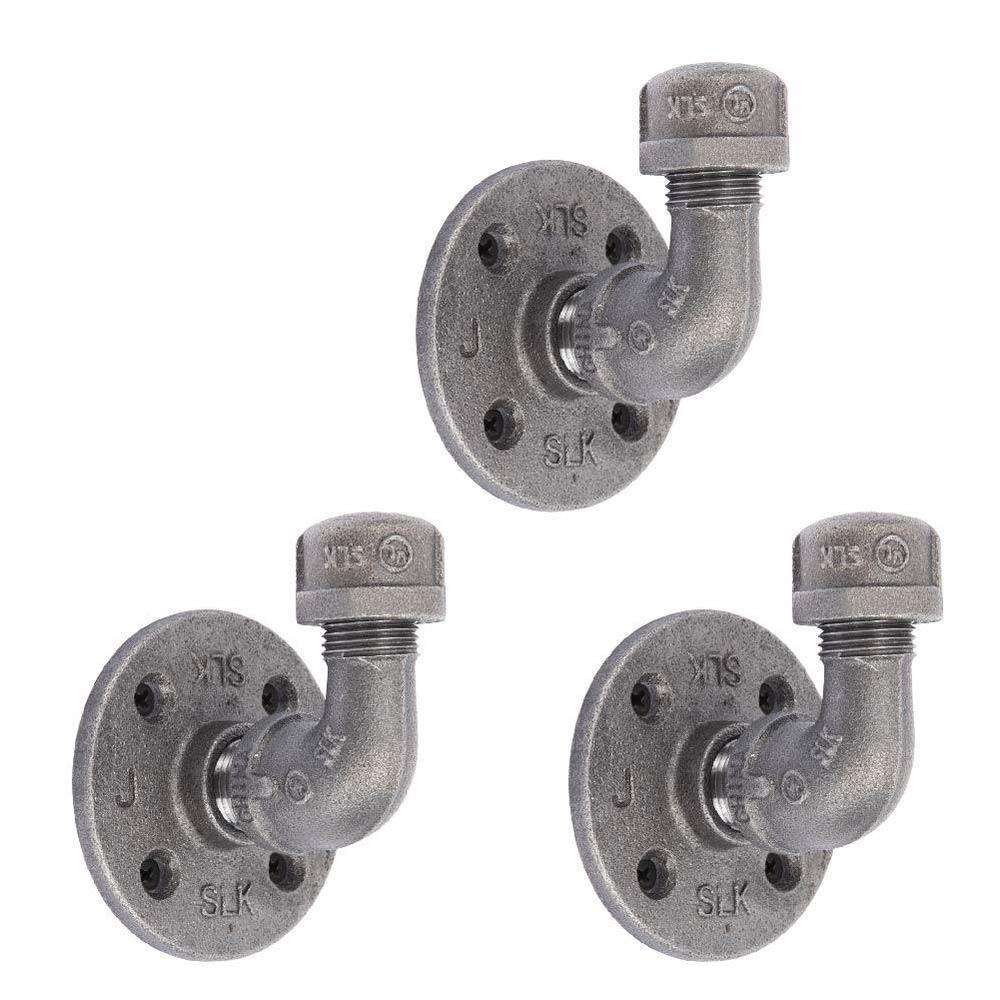 1/2 in. Black Steel Pipe Wall Hook Kit (3-Pack)