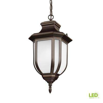 Childress Antique Bronze 1-Light Outdoor Hanging Pendant with LED Bulb