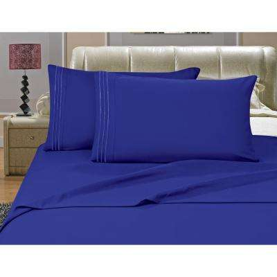 1500 Series 4-Piece Royal Blue Triple Marrow Embroidered Pillowcases Microfiber Queen Size Bed Sheet Set