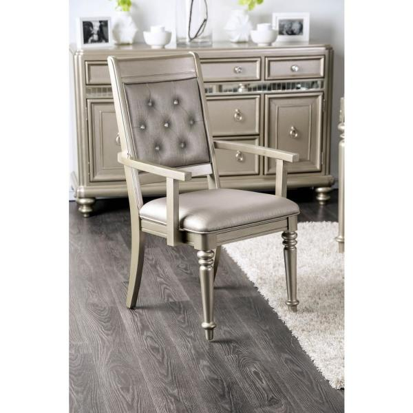 undefined Xandra Champagne Transitional Style Arm Chair